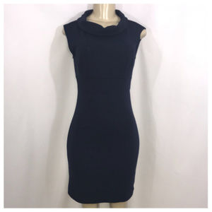Alyn Paige Navy Cowl Neck Casual Mini Dress Small
